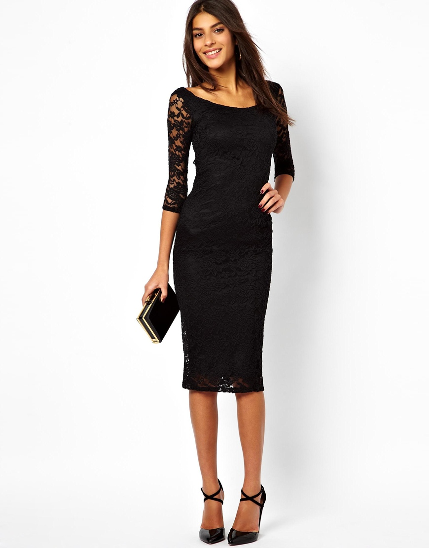 Asos black lace dress midi