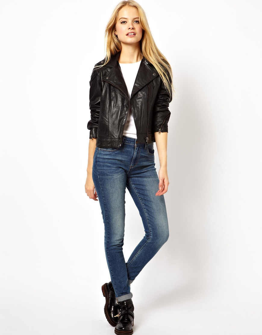 Asos Asos Petite Leather Biker Jacket in Black | Lyst