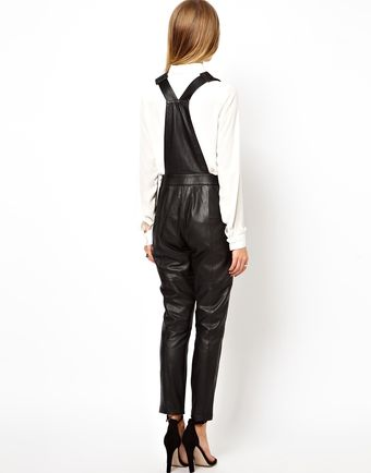 Asos Exclusive Leather Dungarees - Lyst