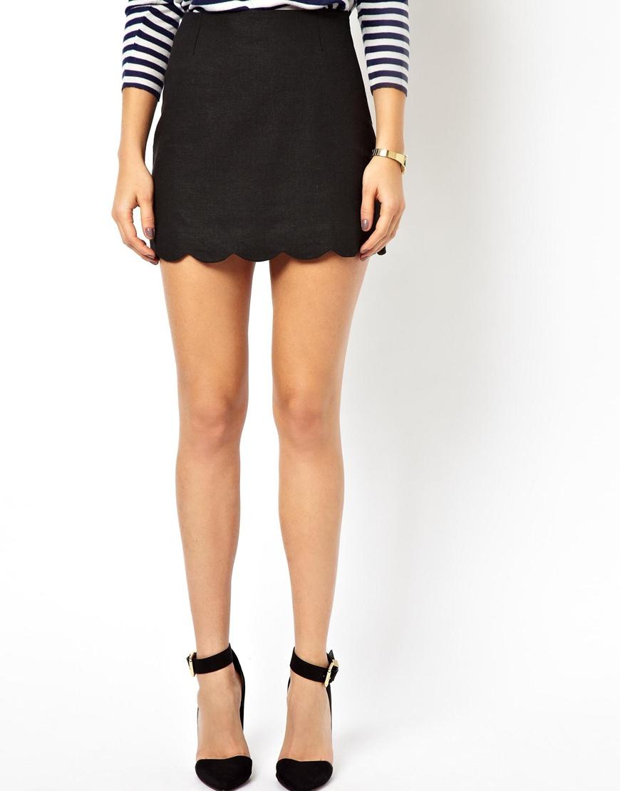 696d2b98d ASOS Linen Mini Skirt With Scallop Hem in Black - Lyst
