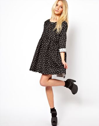Asos Smock Dress in Jacquard Spot - Lyst
