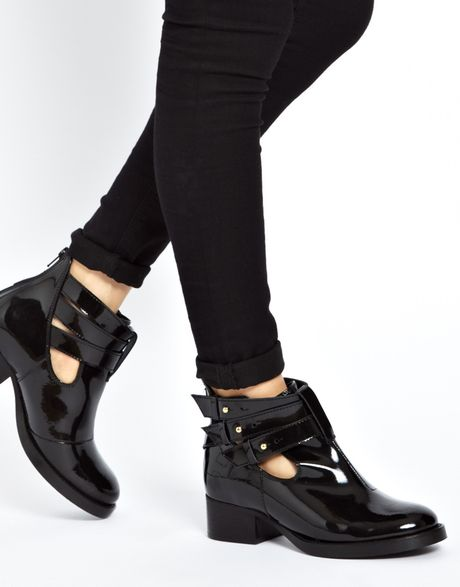 asos after all leather cut out ankle boots in black