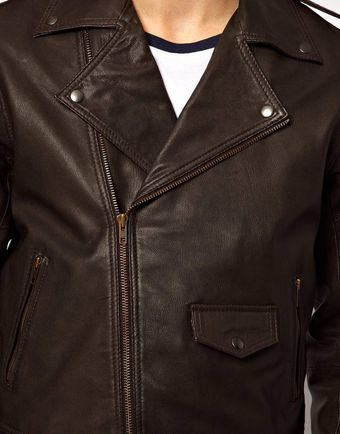 Asos Leather Biker Jacket in Slim Fit - Lyst