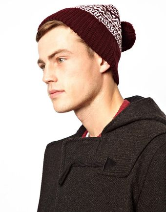 Asos Bobble Beanie Hat in Jacquard Pattern - Lyst