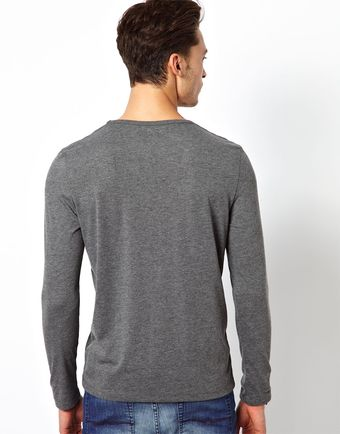 Asos Long Sleeve Tshirt with Deep V Neck - Lyst