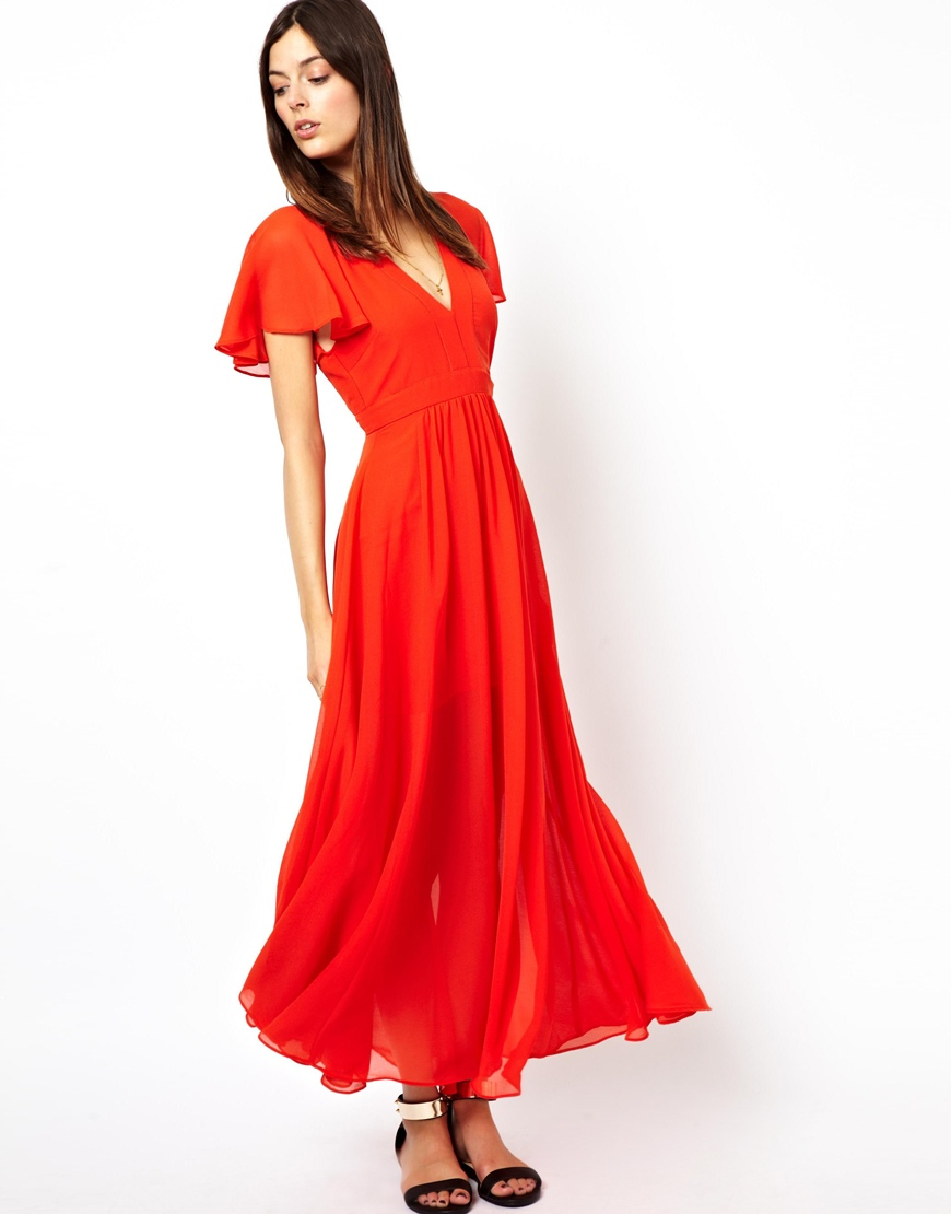 1cd8ae5a5b ASOS Maxi Dress with Deep Plunge and Ruffle Sleeve in Orange - Lyst