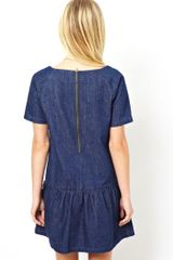 Asos Premium Denim Dress with Drop Waist - Lyst