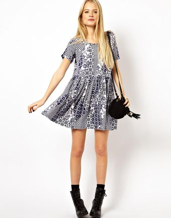 Asos Smock Dress in Patchwork Tile Print - Lyst