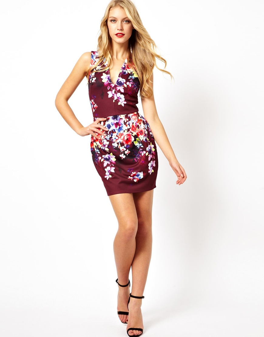0795e5013f Lyst - ASOS Deep Plunge Floral Lantern Dress in Red