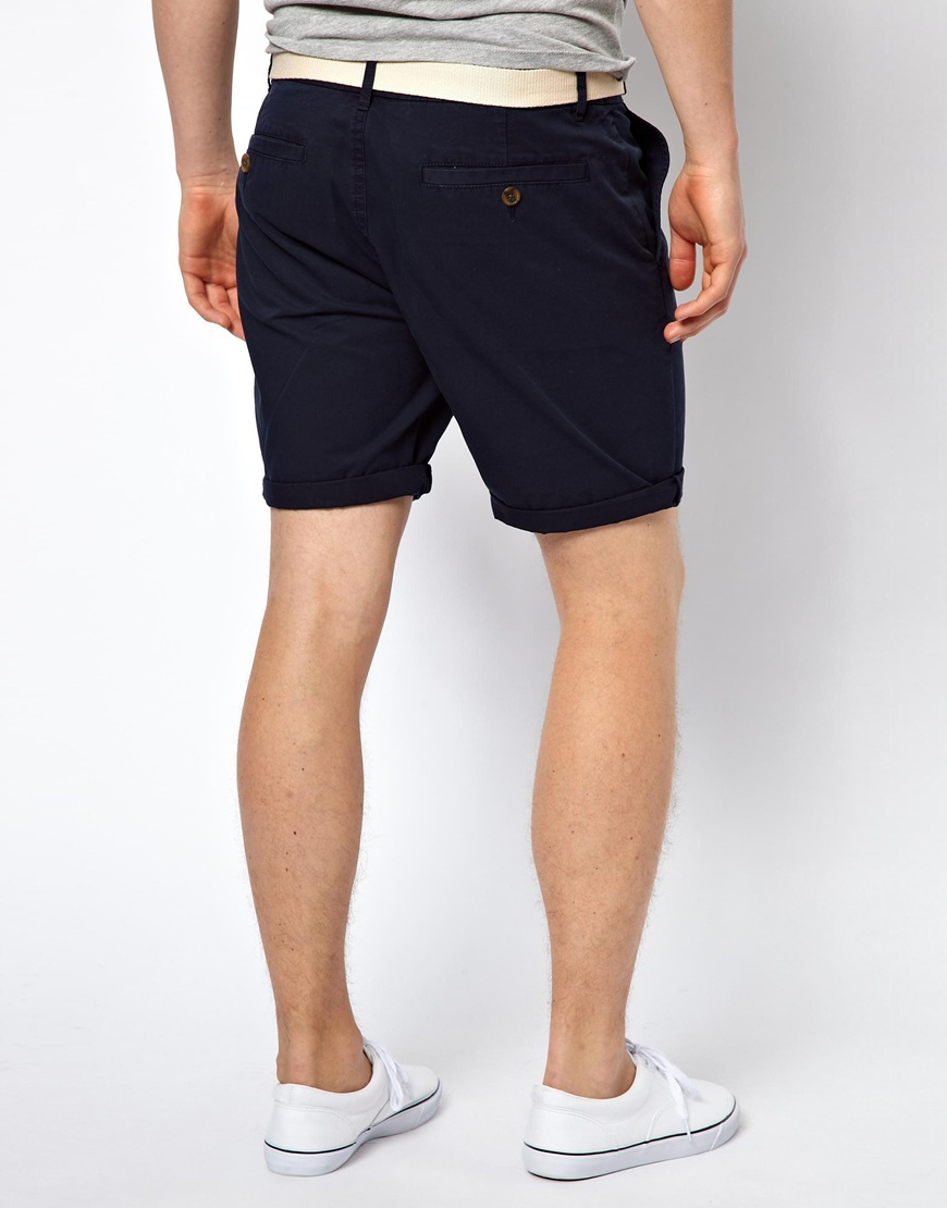 Asos Chino Shorts With Belt In Mid Length in Blue for Men | Lyst