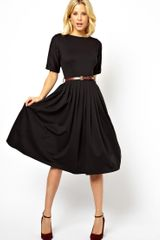 Asos Midi Skater Dress with Half Sleeve - Lyst