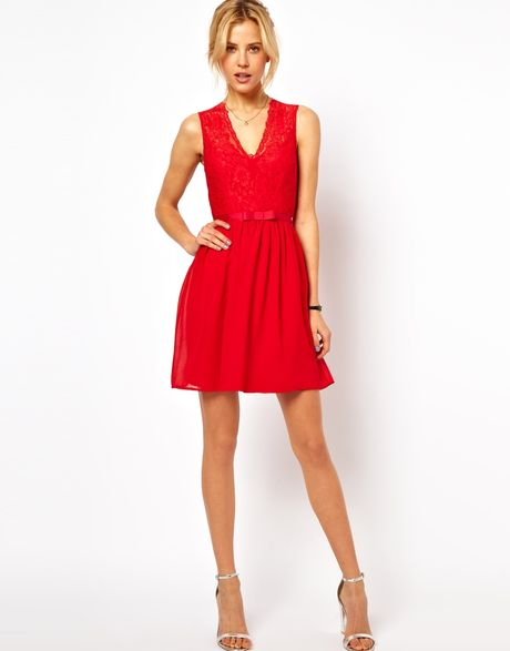Scalloped Lace Skater Dress Lace Skater Dress in Red