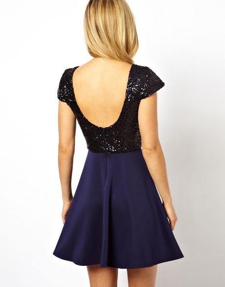 Black Sequin Top Dress Sequin Top Skater Dress in