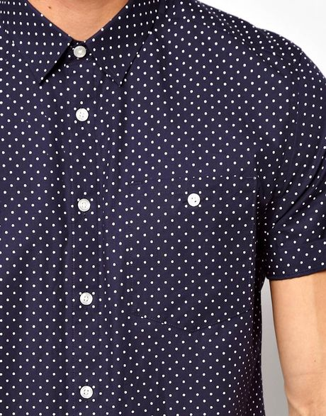 Asos shirt in short sleeve with polka dot print in blue for Mens polka dot shirt short sleeve
