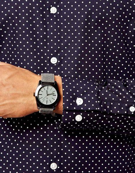 Dark Blue Polka Dot Shirt Smart Shirt With Polka Dot