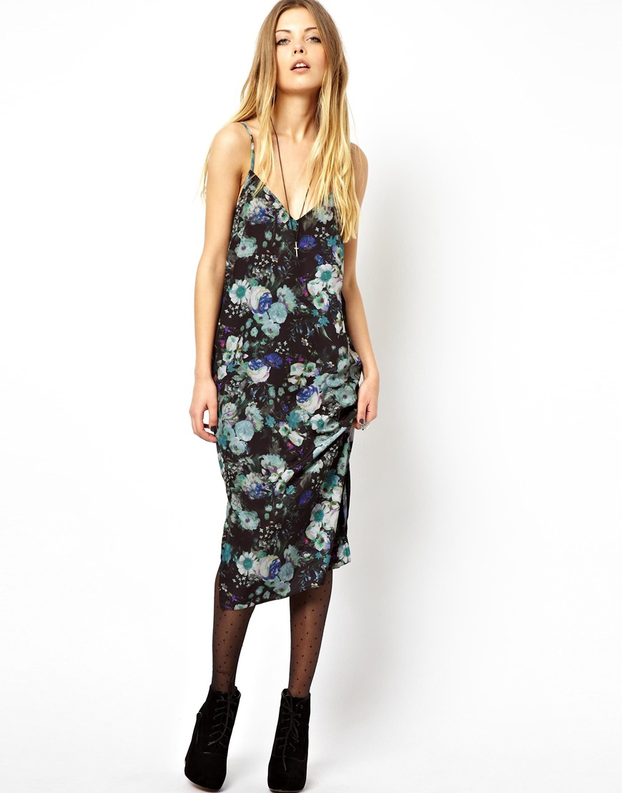 44aaa01fd065 ASOS Slip Dress In Floral Print - Lyst