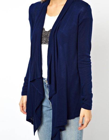 Ladies Navy Blue Waterfall Cardigan - Gray Cardigan Sweater