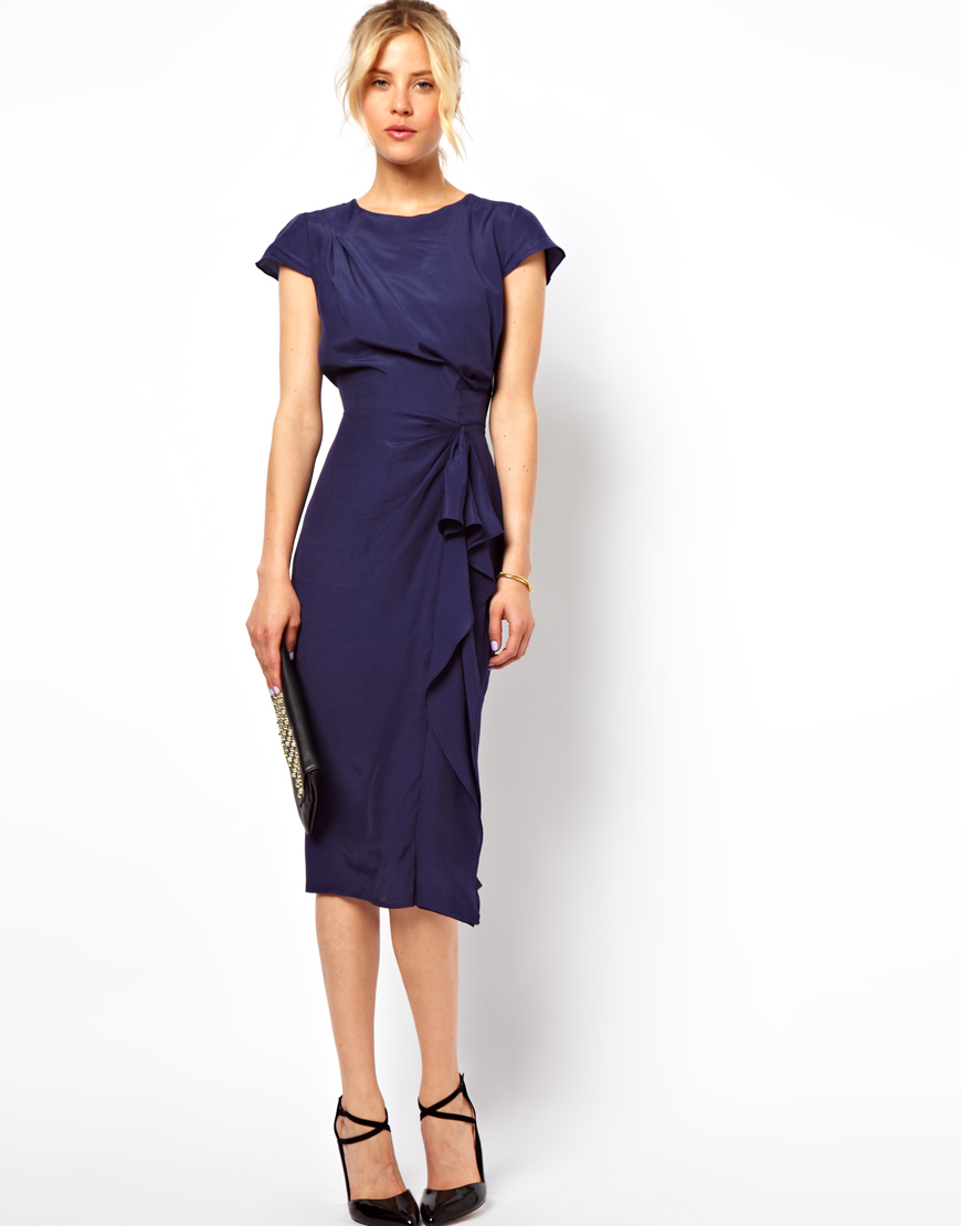 Lyst Asos Pencil Dress With Waterfall Detail In Blue