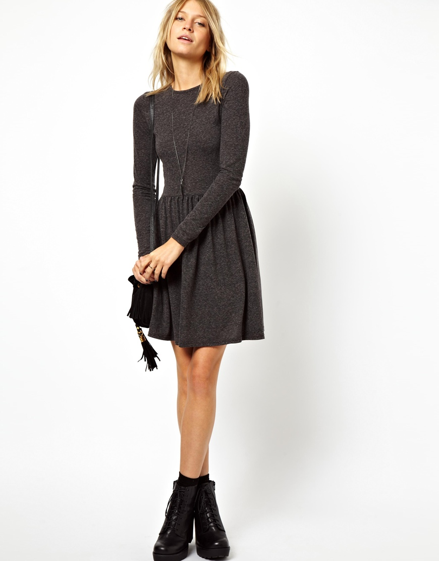 688482cbca52 Lyst - ASOS Skater Dress In Nepi With Long Sleeves in Black