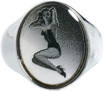 Asos Signet Ring with Pin Up Design - Lyst