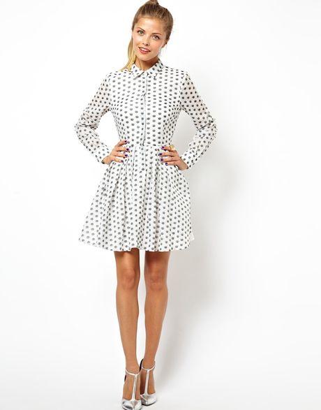 Платье рубашка в горошек