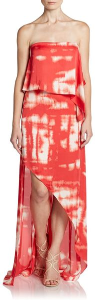 BCBGMAXAZRIA Draped Tier Maxi Dress - Lyst
