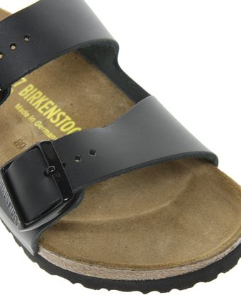Birkenstock Arizona Black Leather Two Strap Sandals - Lyst