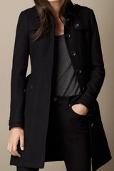 Burberry Leather Detail Military Coat - Lyst