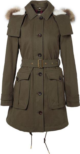 Burberry Brit Detachable Fur Hood Parka Jacket In Green