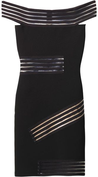 Christopher Kane Bardot Sheer Stripe Bodycon Dress - Lyst