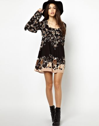 Free People Printed Mini Dress with Fluted Sleeve - Lyst