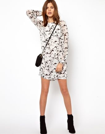 French Connection Hatched Horses Print Smock Dress - Lyst