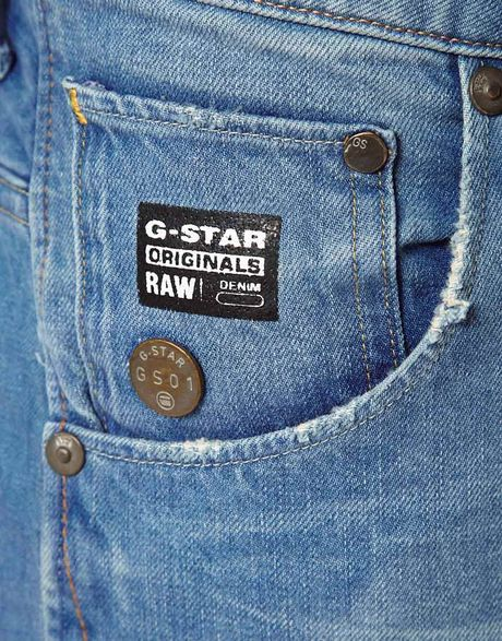 star raw g star jeans arc 3d slim light aged in blue for men lyst. Black Bedroom Furniture Sets. Home Design Ideas