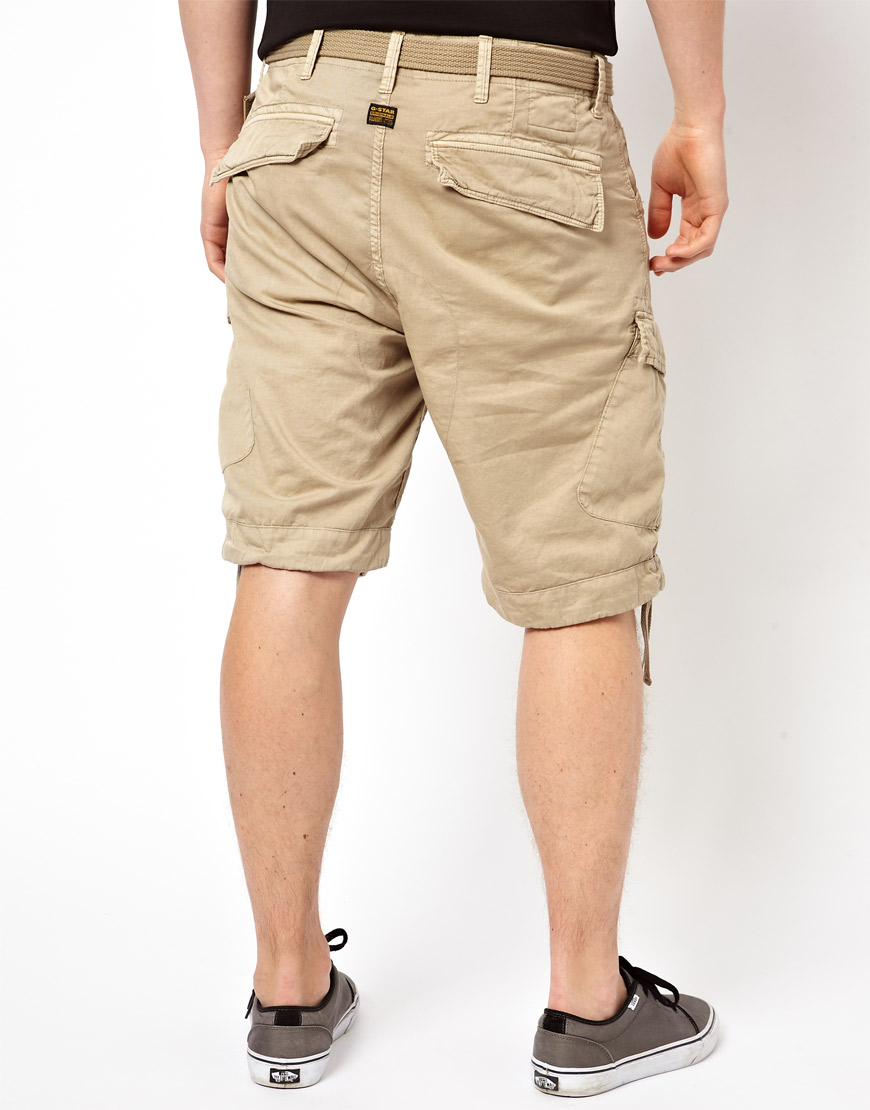 star raw natural g star cargo shorts rovic loose with belt for men. Black Bedroom Furniture Sets. Home Design Ideas