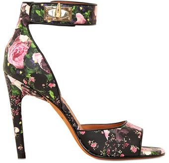 Givenchy 100mm Floral Nappa Leather Sandals - Lyst