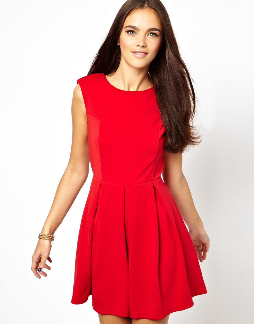 Lyst - Glamorous Structured Skater Dress with Open Back in ... - photo#23