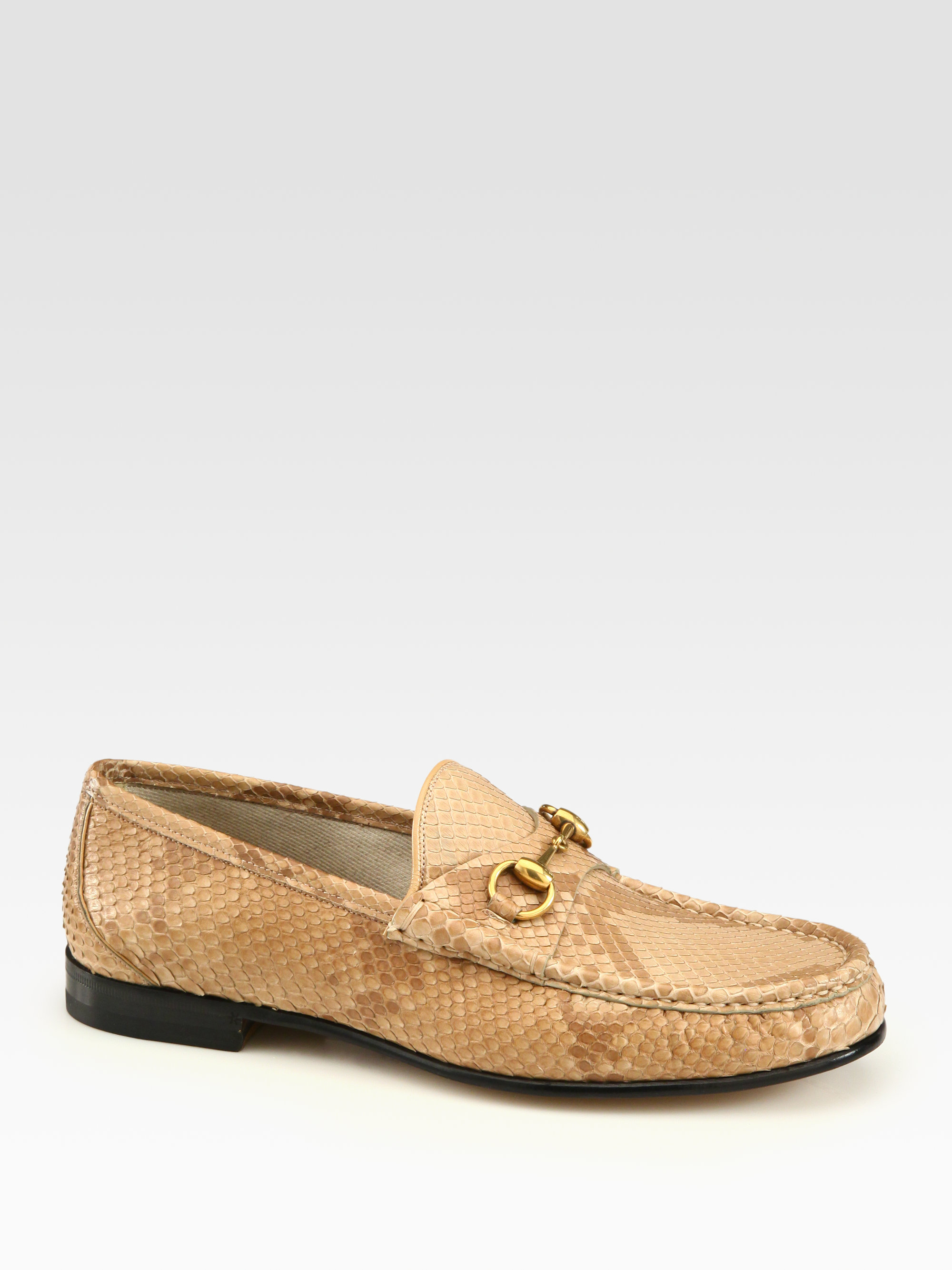 7614355cd Gucci Green Python Horsebit Loafers in Natural for Men - Lyst