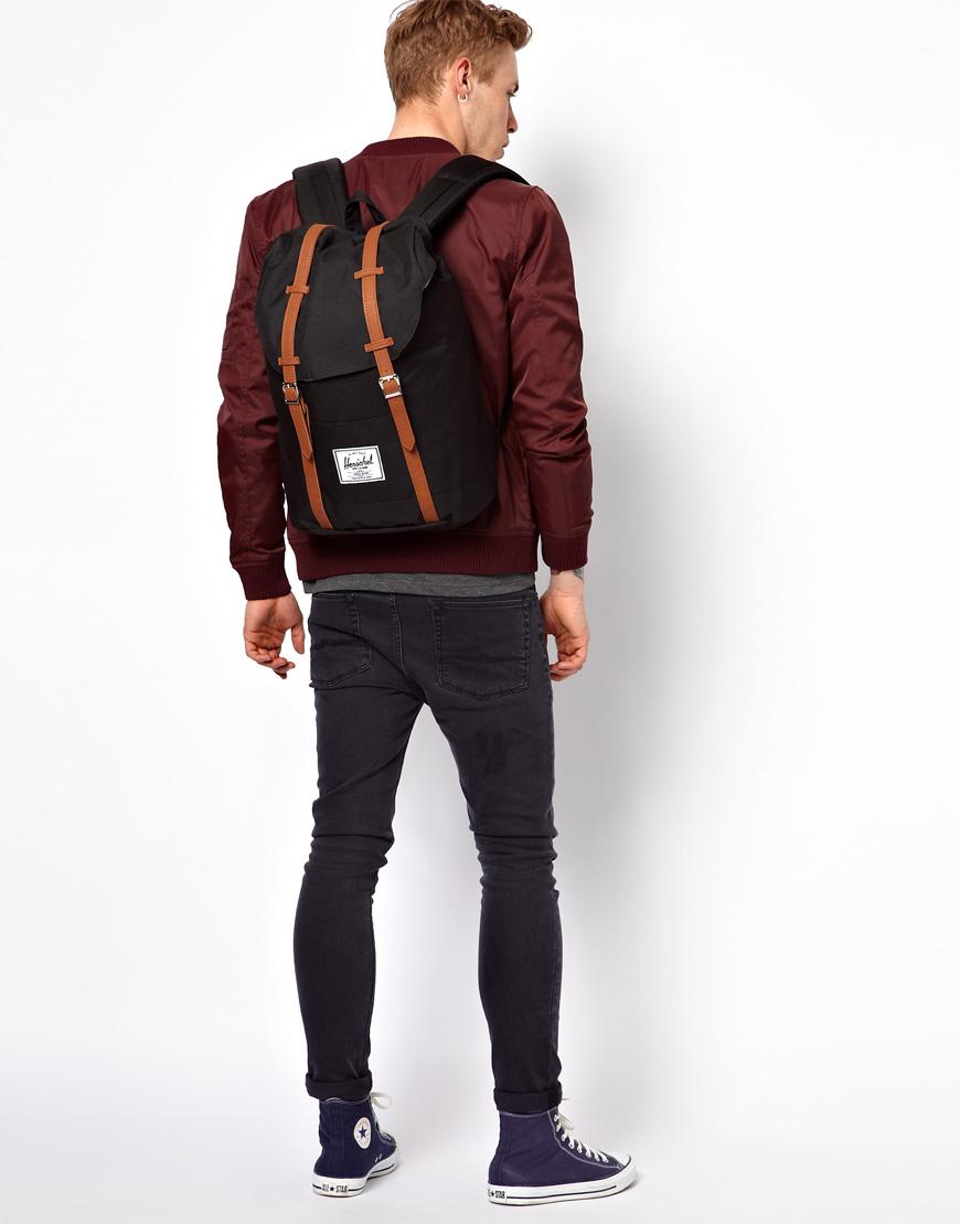 herschel supply co 22l retreat backpack in black for men lyst. Black Bedroom Furniture Sets. Home Design Ideas