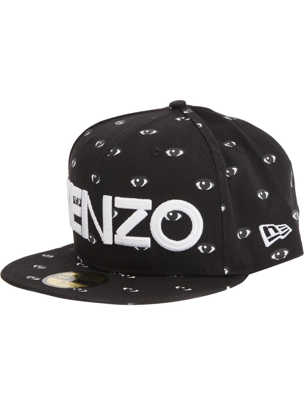 3977e128a4e Lyst - KENZO Eye Print Logo Cap in Black for Men