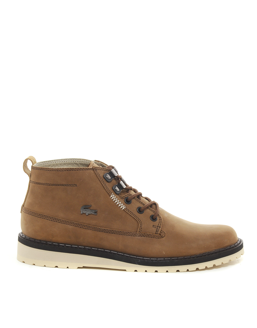 lacoste delevan boots in brown for men lyst