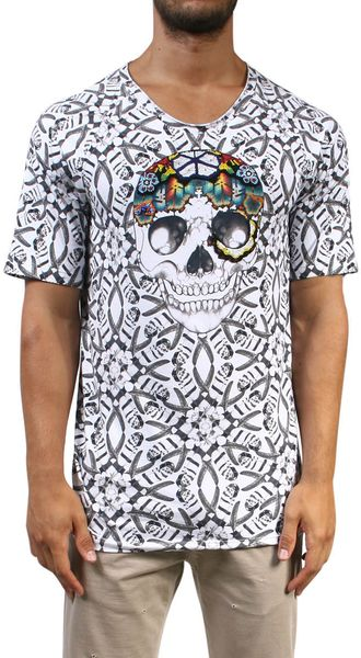 Laneus Cotton Tshirt with Figurative Skull - Lyst