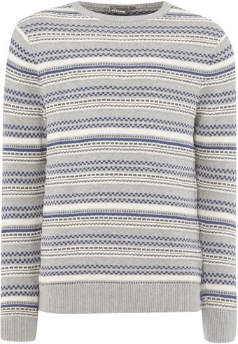 Linea Paris Patterned Stripe Crew Neck Knit - Lyst