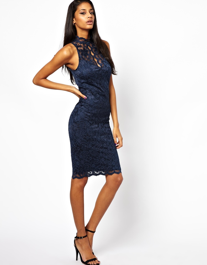 Lyst - Lipsy High Neck Midi Dress in Lace in Blue 40cc7a8ac
