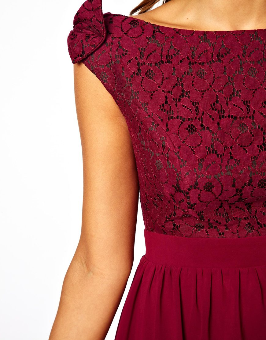 Lyst Little Mistress Prom Dress With Lace Bardot Top In Red