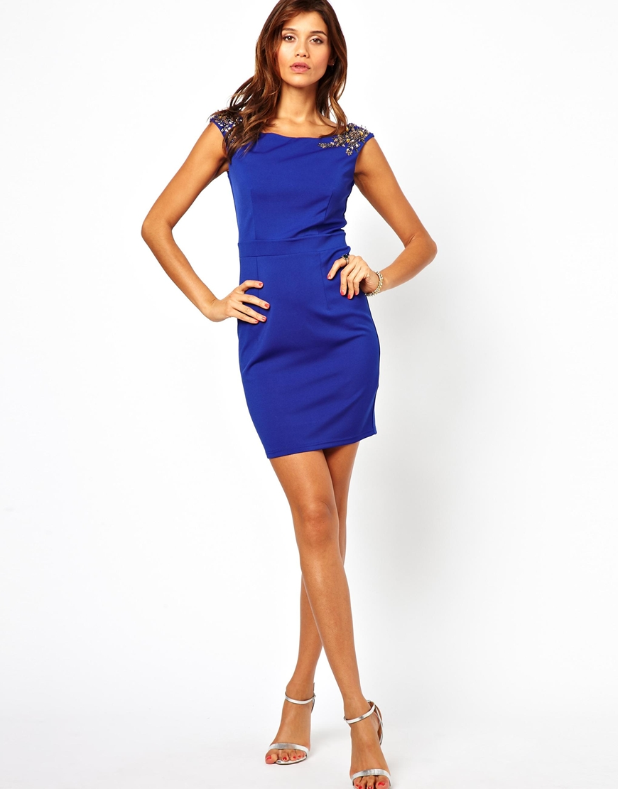 Little mistress Embellished Pencil Dress with Bardot Top in Blue ...