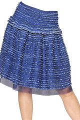 Maurizio Pecoraro Ruffled Light Cotton Denim Skirt - Lyst