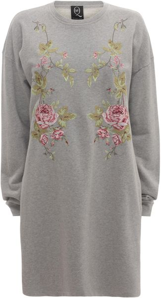 McQ by Alexander McQueen Rose Embroidered Sweatshirt Dress - Lyst