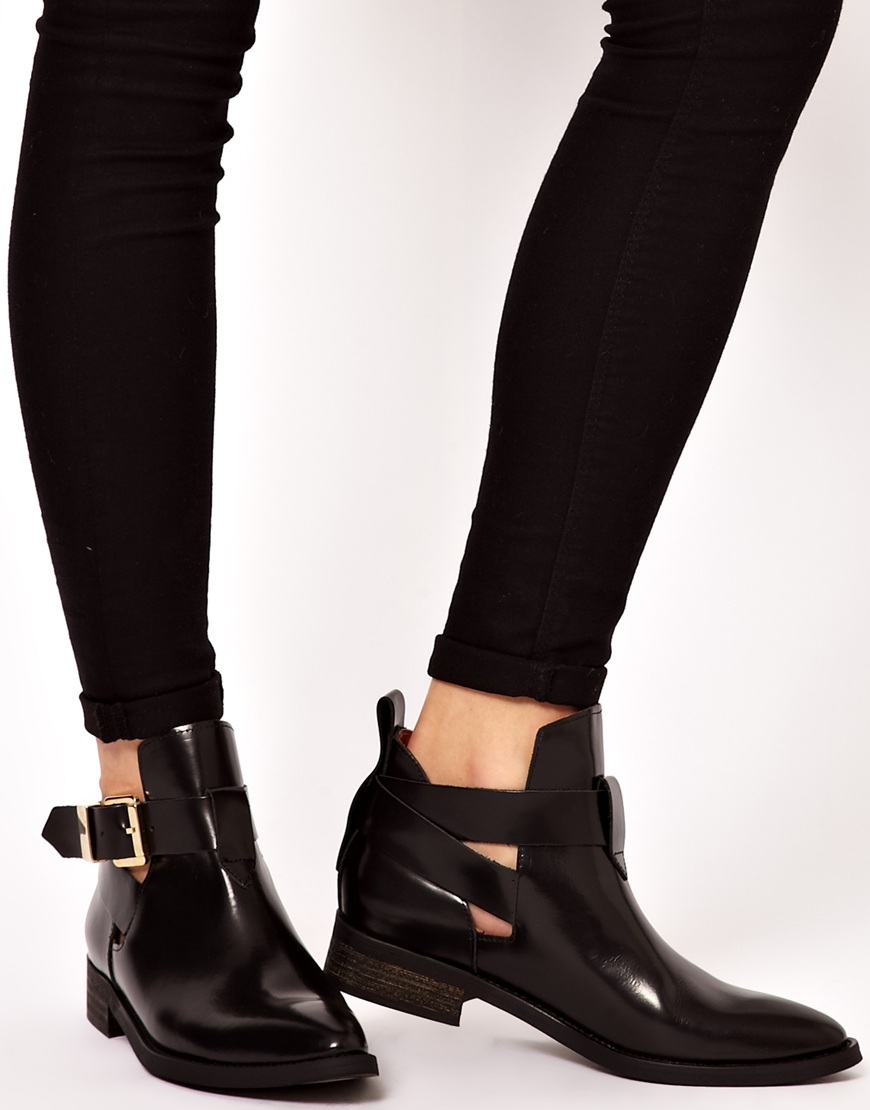 Lyst Miista Ona Black Leather Cut Out Ankle Boots In Black
