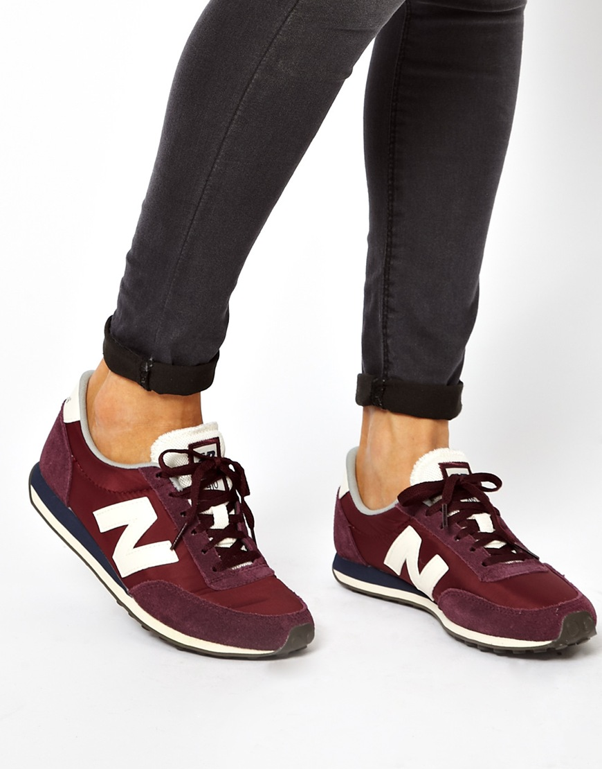 c2bd838cc50 New Balance 410 Burgundy Suede and Mesh Trainers in Purple - Lyst