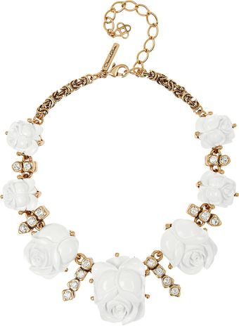 Oscar de la Renta Goldplated Crystal and Resin Rose Necklace - Lyst